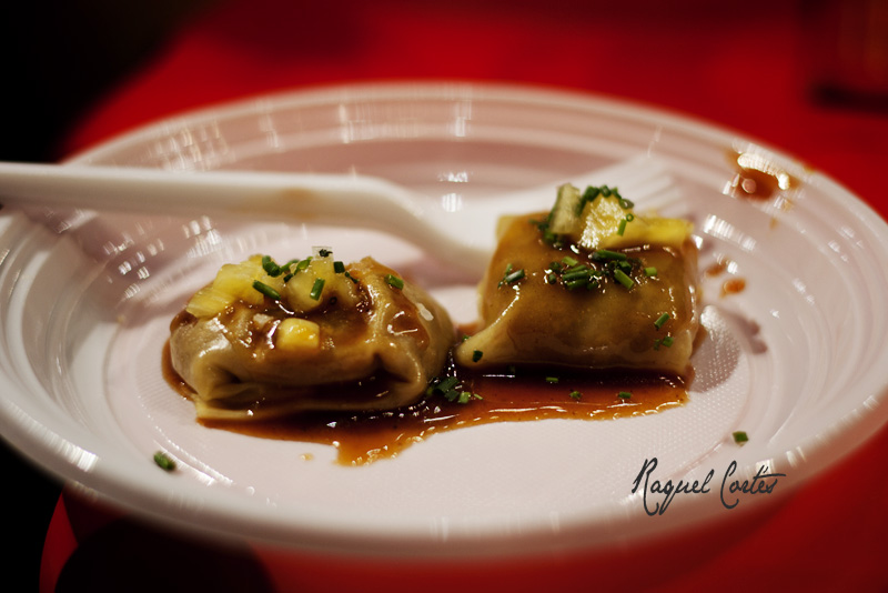Tapa Bar Lateral [duck ravioli in honey and soya brine]